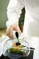 Greece, Athens, restaurant Spondi, chef Arnaud Bignon 2* chef , crude fish, rughetta, avruga.