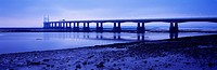 The Prince of Wales Bridge (Second Severn Crossing) over the River Severn between England and Wales seen from Severn Beach in Gloucestershire.