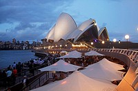 Circular Quay and Opera Bar in front of the famous opera in Sydney, New South Wales, Australia