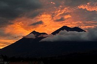 Guatemala, view of Volcan de Fuego and Acatenango, sunset