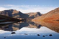 Ogwen Valley Gwynedd North Wales UK Europe  November Still water of Llyn Ogwen lake reflecting Y Garn and Foel Goch mountains in Snowdonia National Pa...