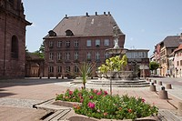 Guebwiller, Alsace, France, Europe  Town square with early Renaissance16th century Town Hall Hotel de Ville in historic commune in Grand Cru wine grow...