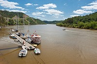 River port and population of Pomarao. Rio Guadiana. Alentejo. Portugal.