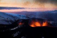 Volcanic eruption on Fimmvorduhals, South Iceland  Fimmvorduhals is the area between the glaciers Eyjafjallajokull and Myrdalsjokull in southern Icela...