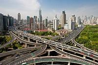China-May 2010 Shanghai City Highway Crossing at Yannan Lu and Chengdu Lu Avenues.