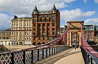 RIVER CLYDE GLASGOW Pedestrains South Portland Street Suspension Bridge over River Clyde