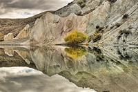 Blue Lake reflection, St Bathan´s, autumn, Central Otago, New Zealand