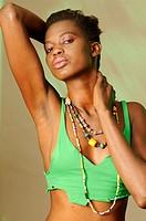 Black African Model wearing beads