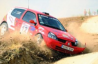 Rally car exiting the track of land in Madrid
