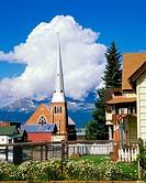 Leadville Colorado USA Church and Cumulus Cloud Highest City in North America