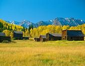 Ashcroft Ghost Town Castle Creek Valley near Aspen, Colorado USA