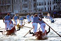 Gondolini regatta during Regata Storica, Venice, Italy