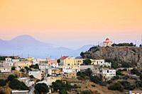 Panorama of the Sellia traditional Greek village in the evening  Crete, Greece