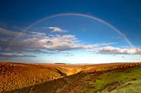 Moorland and Rainbow, red grouse moor in autumn, Allendale, Northumberland, England