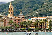 View at the harbourfront and old town of Rapallo in Liguria, North West Italy.