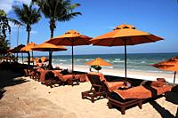 Empty chairs on a beach in Hua Hin