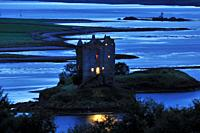 Castle Stalker is a large stone 15th century tower house, Loch Laich, Portnacroish, Highlands, Scotland, United Kingdom, Europe