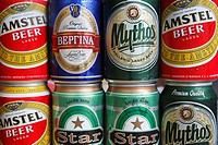Greek Beers  Cans of Amstel, Mythos, Star and Vergina brands