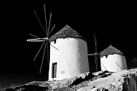 The Windmills overlooking Chora town  Ios Cylcades Islands, Greece