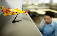 A miniature plane decorates the offices of the Bombardier Aerospace plant in Queretaro, Mexico, March 2, 2008