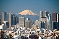 Tokyo City, Shinjuku District and Mount Fuji.