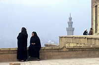 two old woman on a terrace of the Saladin Citadel, Cairo, Egypt, Africa