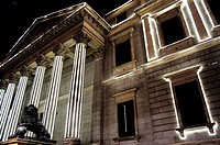Congreso de los Diputados (Spanish Parliament with Christmas lights. Madrid, Spain.