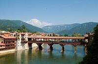 Italy, Vicenza province, Bassano del Grappa, wood bridge over the Brenta river.