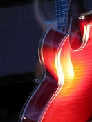 Electric guitar glowing red