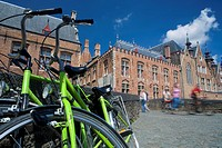 Bicycle in a typical street in the medieval town of Brugge, listed World Heritage Site by UNESCO  Flanders  Belgium