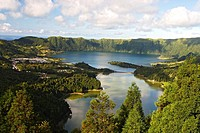 Crater Lake Lagoa Verde and Lagoa Azul / Volcanic Crater Sete Cidades / Sao Miguel Island / Azores / Portugal