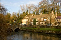 The Swan Inn in Bibury, Oxforshire, winter sunshine