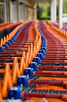 Abstract of supermarket trolleys snaking off into the distance