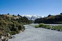 A dry section of gravel river bed in the Rakaia Gorge, South Island of New Zealand