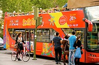 Red tourist Sevilla tour bus Sevilla Andalucia Spain