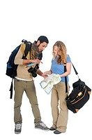 young backpacker couple lost consult map and guidebook On white Background