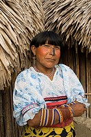 Kuna woman, Playon Chico village, San Blas Islands also called Kuna Yala Islands, Panama