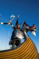 Up Helly Aa procession LERWICK SHETLAND Guizer Jarl Einar of Gullberuvik and Viking longship galley Moogi prow