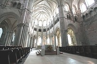 Interior of the early Gothic basilica of Vezelay, Yonne, Burgundy, France