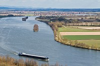 Romanian cargo ship travels north on the Danube river near Regensburg, Germany