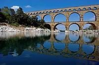 The Pont du Gard, an ancient Roman aqueduct bridge that crosses the Gardon river, Gard, France.