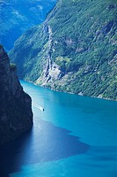 Small boat in Geiranger Fjord, Norway