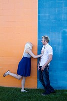 young couple enjoying the day together durring engagement shoot