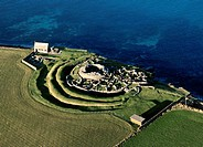 Broch of Gurness Iron Age village  Central tower radial adjoining houses and wall  Eynhallow Sound, Mainland, Orkney, Scotland