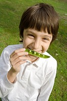 Child Portrait with a Peas Pod