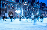 Ice rink in front of City Hall, Paris, France