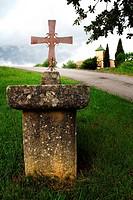 Old cross, Muntanyola, Osona, Barcelona province, Catalonia, Spain