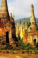 Burma, Myanmar, Shan state, Inle Lake, Inthein or Indein, paya Shwe Inn Thein, group of stupas dated 17 to 18 th century