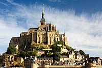 Overview of Mont-Saint Michel abbey, listed as World Heritage by UNESCO, Manche department, Lower Normandie region, France