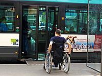 Paris, France, Handicapped Access Public Transportation, PC Bus, Man in Wheelchair Entering Door